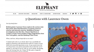 Elephant Magazine: 5 Questions with Laurence Owen